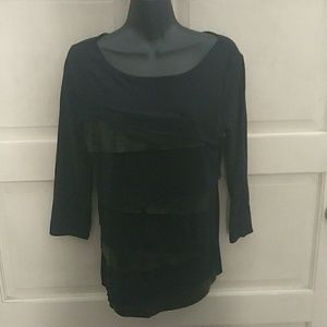 Verve Fabric & Leather Look Top